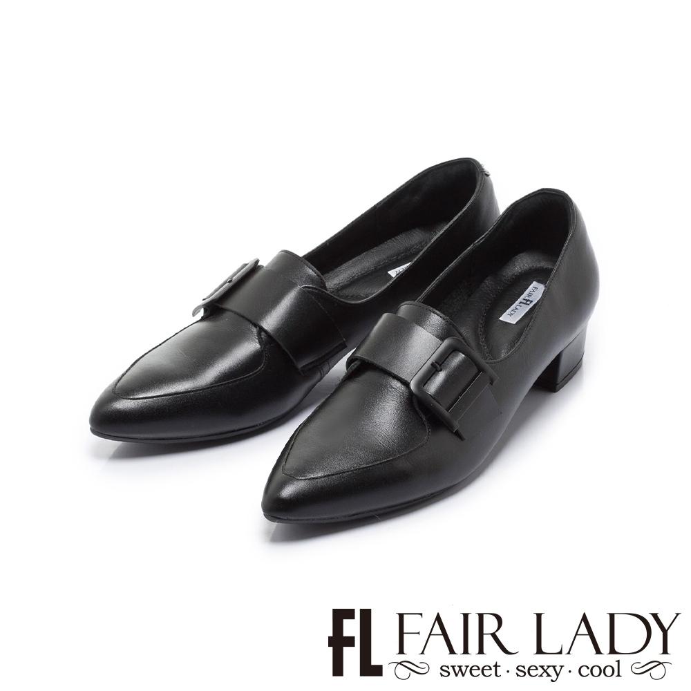 FAIR LADY Soft芯太軟率性方釦釦帶尖頭樂福鞋 黑