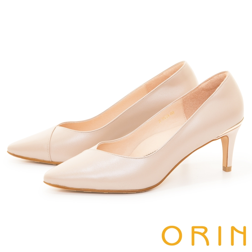 ORIN V口剪裁真皮尖頭 女 高跟鞋 裸色