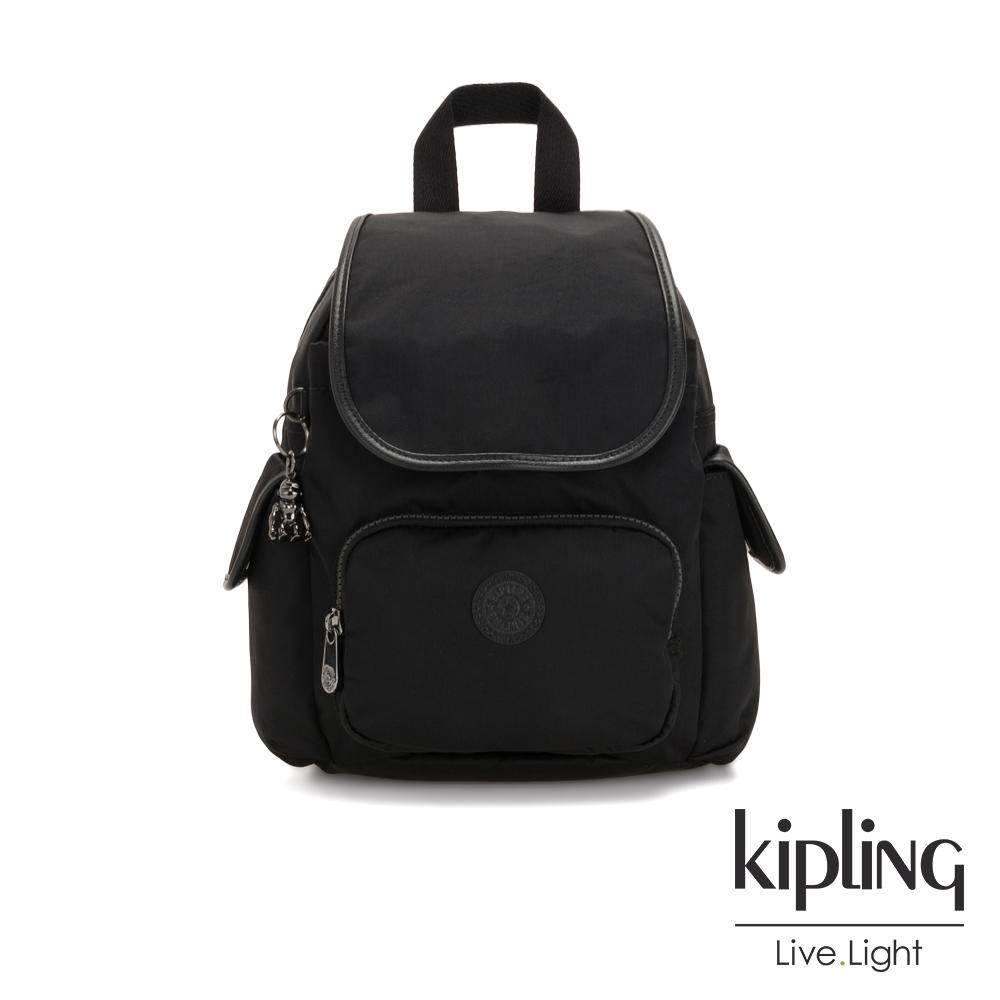 Kipling 極致低調黑拉鍊掀蓋後背包-CITY PACK MINI