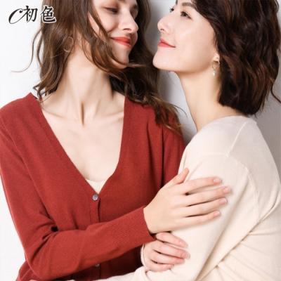 初色  V領長袖薄款針織開衫外套-銹紅色-(M-2XL可選)
