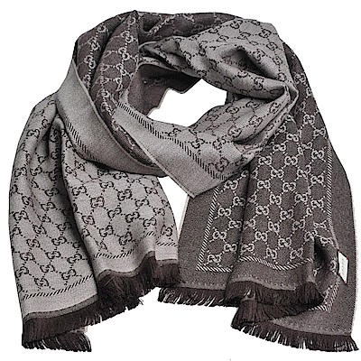 GUCCI SC NEW STEN GG LOGO羊毛雙面寬版披肩/圍巾(咖啡/卡其咖)