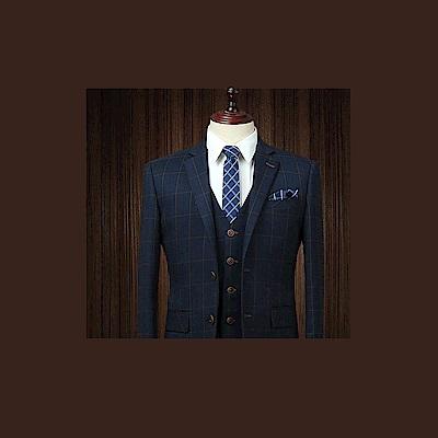 拉福   領帶6cm中窄版領帶拉鍊領帶(兒童格紋藍)