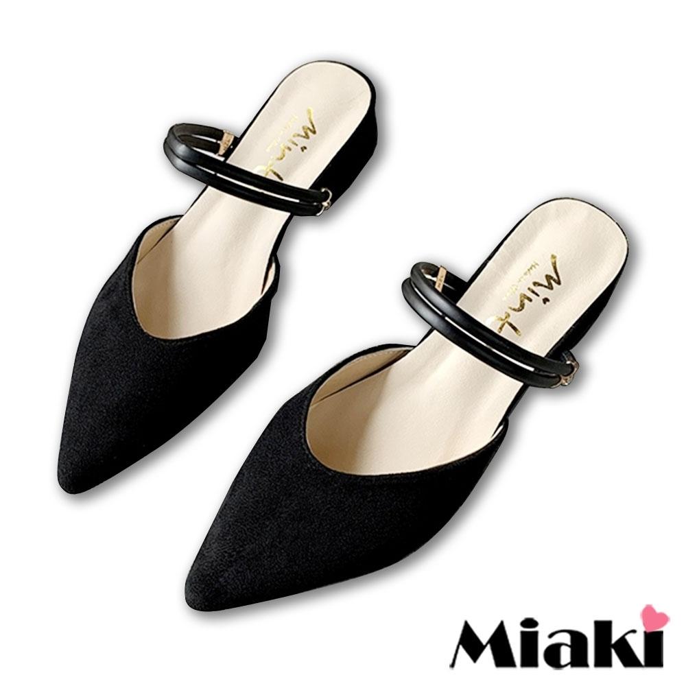 Miaki-穆勒鞋2穿繫帶低跟尖頭包鞋-黑