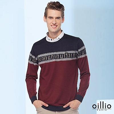 歐洲貴族oillio 長袖線衫 假兩件設計 特色圖騰 紅色