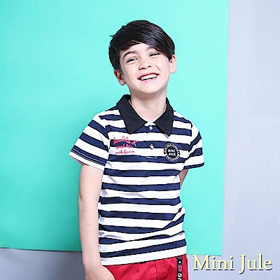 Mini Jule 上衣 條紋字母印花徽章貼布短袖T(深藍)
