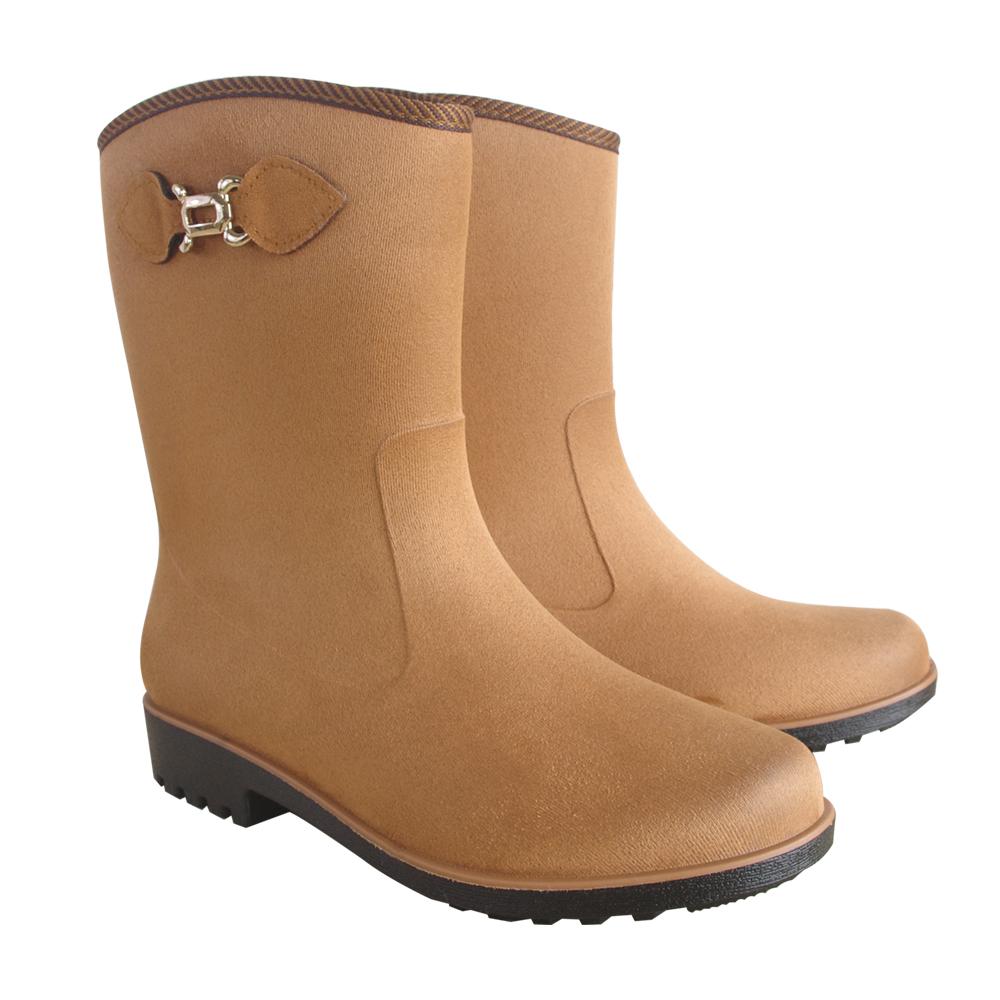 MIT仿麂皮絨面中筒雨靴(時尚棕)J-258