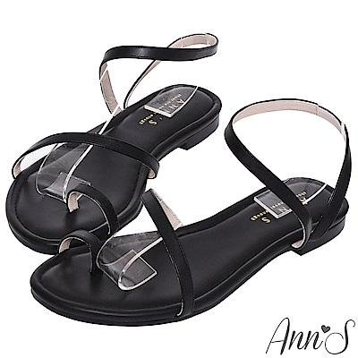 Ann'S網紅都想要的時髦弧線平底涼鞋-黑