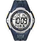 TIMEX 馬拉松系列模擬運動電子腕錶-藍X黃(T5K355)/43X45mm