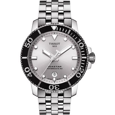 TISSOT 天梭 Seastar 1000 海洋之星300米潛水機械錶-銀/43mm