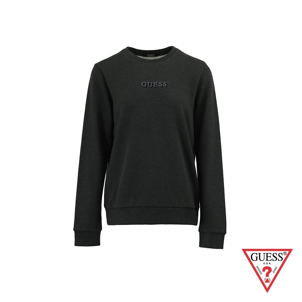 GUESS-女裝-簡約素面雙刺繡LOGO大學T-深灰 原價2990