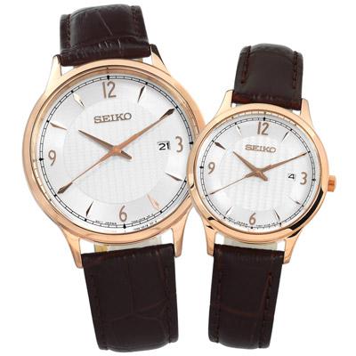 SEIKO 精工 簡約日期牛皮手錶情人對錶-銀x玫瑰金框x深棕 41+29mm