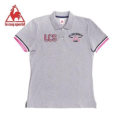 le coq sportif 法國公雞牌經典字母LOGO短袖POLO衫 女-灰