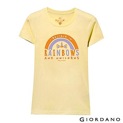 GIORDANO 女裝夢幻獨角獸系列印花T恤-32 爆米花黃