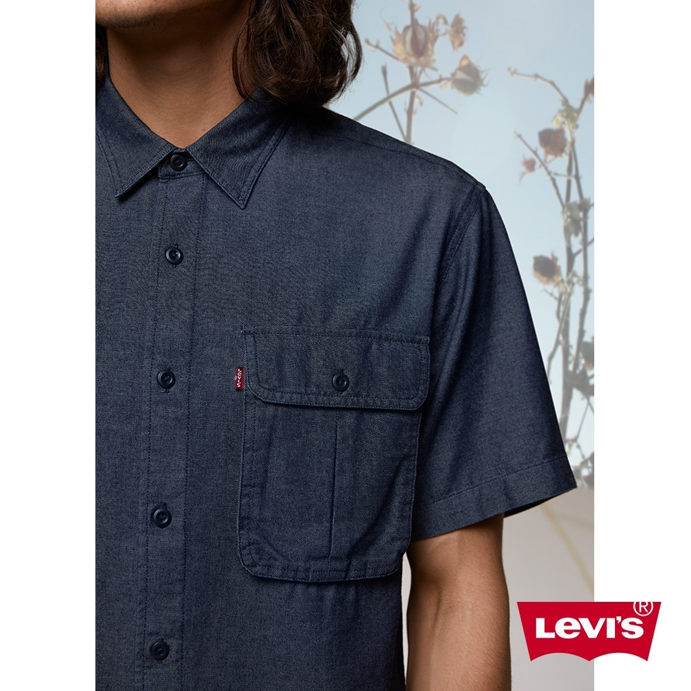 Levis 男款 短袖牛仔工作襯衫 / CoolMax吸濕排汗 / Oversize寬鬆版型