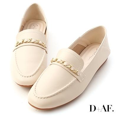 D+AF 舒適印象.金屬鍊條可後踩樂福鞋*米
