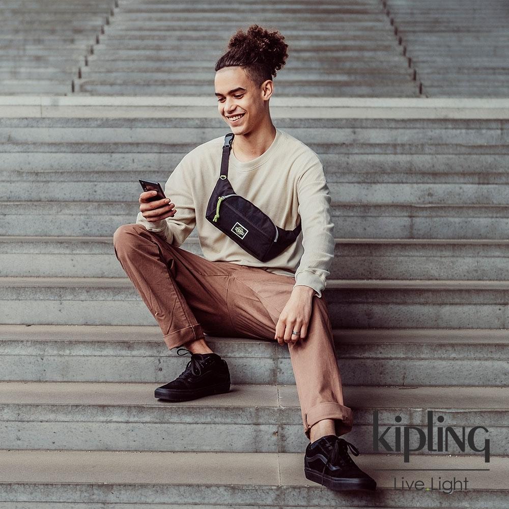 Kipling 率性芝麻抹茶綠單層拉鍊造型小包-YURA