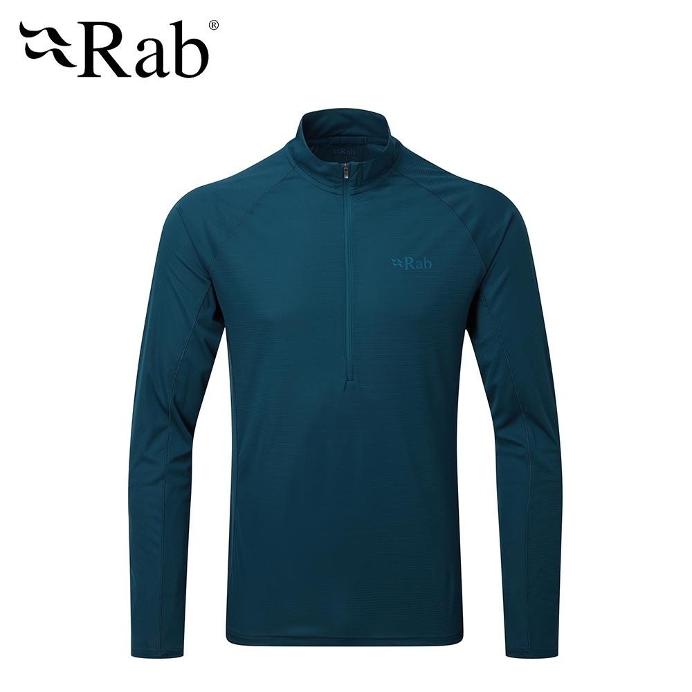 【英國 RAB】Pulse LS ZIP 透氣長袖排汗衣 男款 墨藍 #QBU77