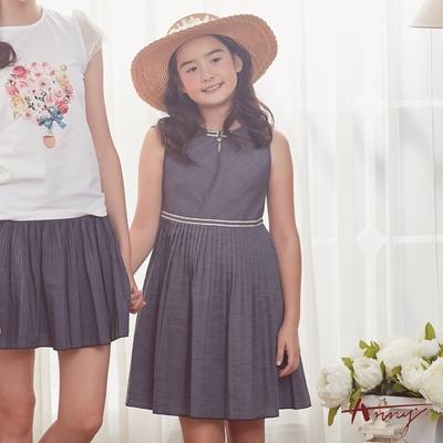 Annys安妮公主-小小裁縫師物語-超親膚天絲仿牛仔風琴褶背心洋裝*8306藍