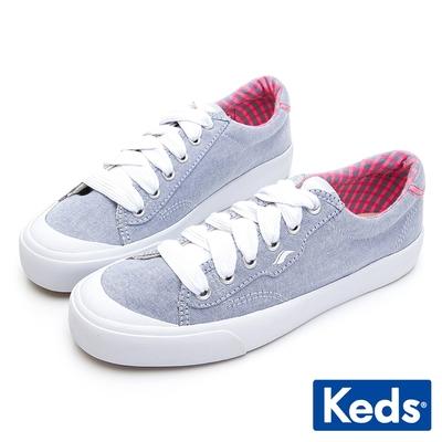 Keds CREW KICK 經典半月帆布綁帶休閒鞋-淺藍