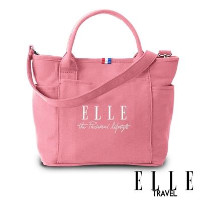 ELLE TRAVEL-極簡風帆布手提/斜背托特包-粉紅 EL52372