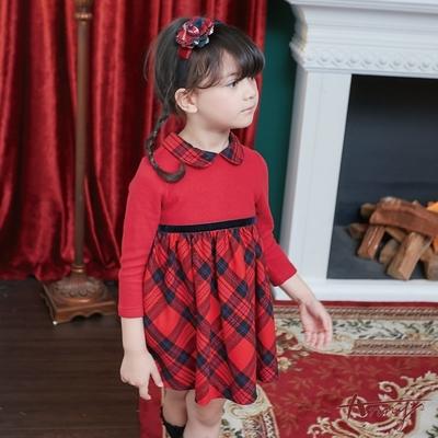 Annys安妮公主-格紋拼接秋冬款長袖綁帶洋裝*8620紅色