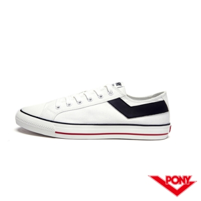 【PONY】Shooter系列經典復古帆布鞋-男-白色