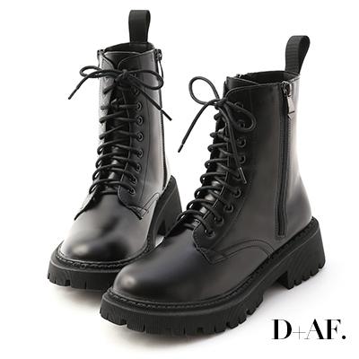 D+AF 帥氣look.雙側拉鍊軍風綁帶短靴*黑