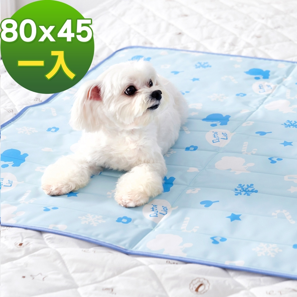 奶油獅-雪花樂園-長效型降6度涼感冰砂冰涼墊(80x45cm)中小型寵物涼墊-藍色(一入)