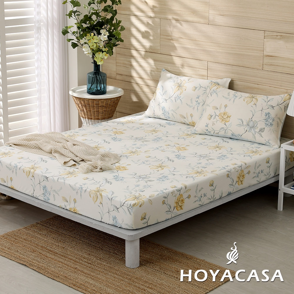 【HOYACASA 】100%天絲枕套床包三件組-多款任選(雙人) (羅曼花都)