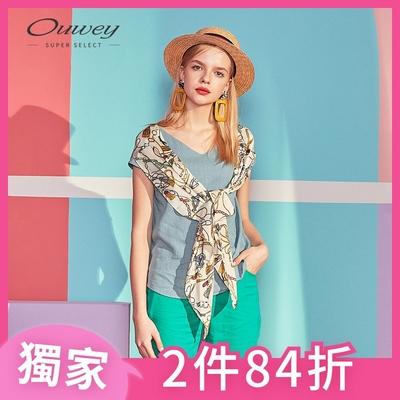 OUWEY歐薇 絲巾披肩V領棉麻上衣(米/藍)