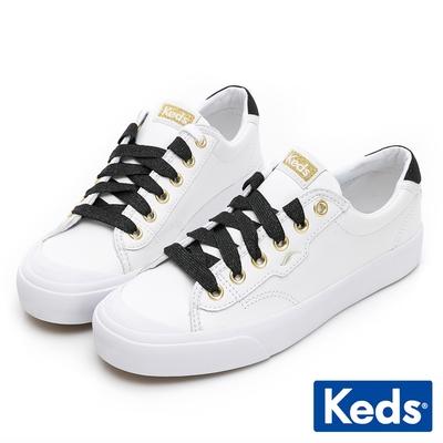 Keds CREW KICK 金蔥撞色皮革休閒鞋-白/黑