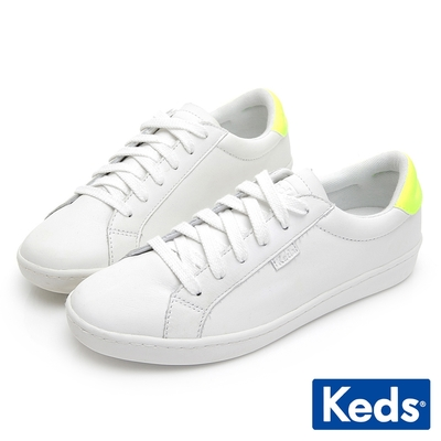 Keds ACE 復古運動皮質綁帶休閒鞋-白/黃