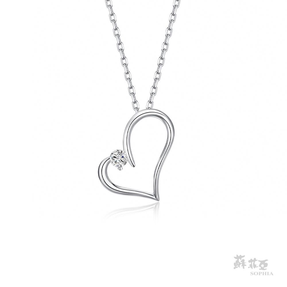 SOPHIA 蘇菲亞珠寶 - 甜心 14K白金 鑽石項鍊