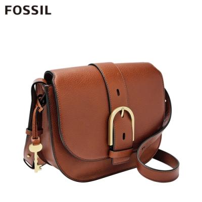 FOSSIL WILEY 真皮復古美型馬鞍包-咖啡色 ZB7957200