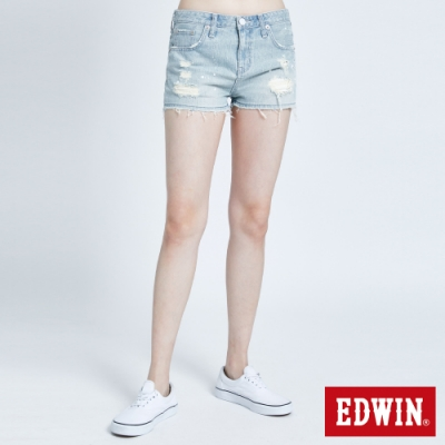 EDWIN 503 丹寧破壞 牛仔短褲-女-重漂藍
