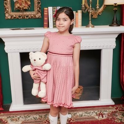 Annys安妮公主-點點皇冠秋冬款綁帶細百褶洋裝*8225粉紅