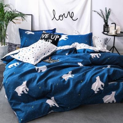 Ania Casa北極星空 單人兩件式 柔絲絨美肌磨毛 台灣製 單人床包枕套兩件組