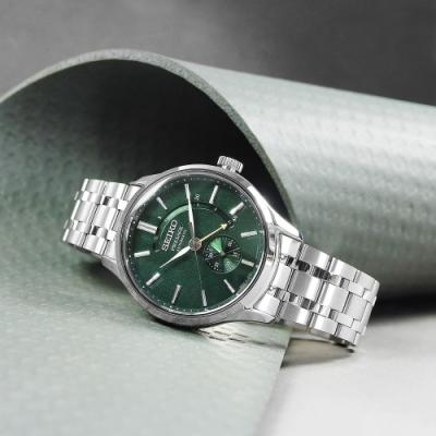 SEIKO 精工 PRESAGE 機械錶 自動上鍊 日期顯示 不鏽鋼手錶-綠色/42mm