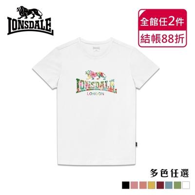 【LONSDALE 英國小獅】夏日扶桑花LOGO短袖T恤-白色LT002