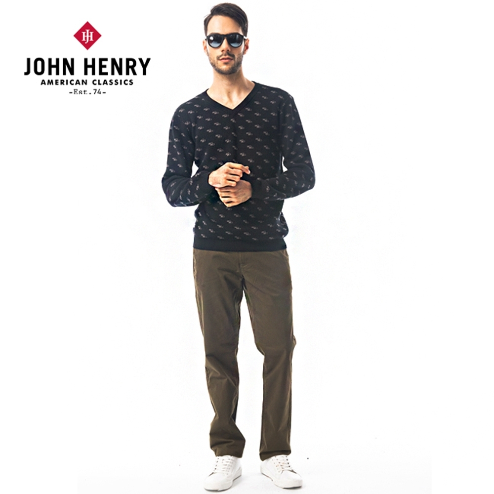 【JOHN HENRY】滿版幾何V領針織-二色選