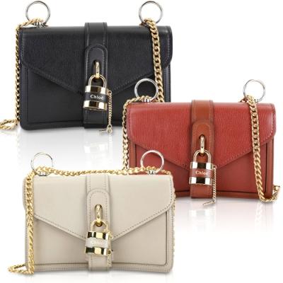 CHLOE Aby Chain 小款 鎖頭系列山羊皮鍊帶側背包-3色可選