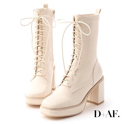 D+AF 微辣個性.加厚水台方頭綁帶短靴*米白