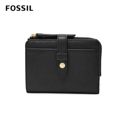 FOSSIL FIONA 真皮系列照片拉鍊短夾-黑色 SL7703001