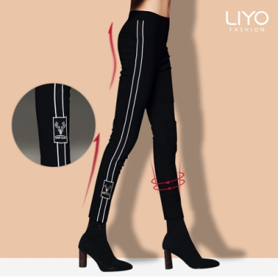 褲子-LIYO理優-MIT高彈力時尚顯瘦撞色配條休閒褲