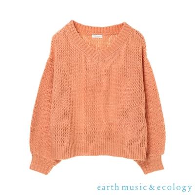 earth music 蓬袖V領落肩寬鬆針織上衣
