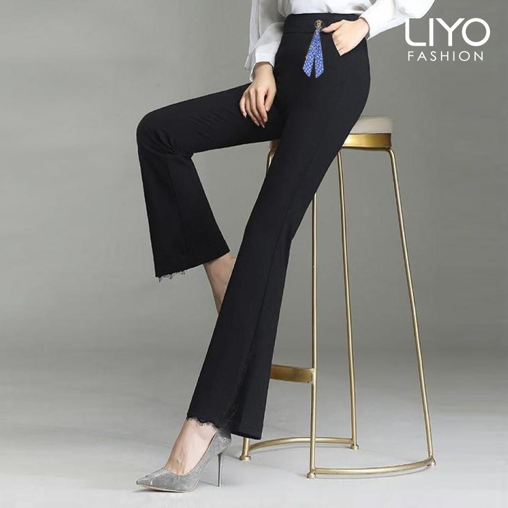 褲子-LIYO理優-心機蕾絲美腿喇叭褲-E011005