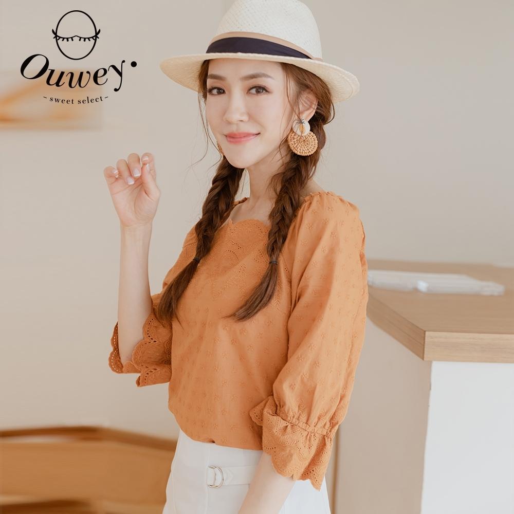 OUWEY歐薇 刺繡棉蕾絲方領上衣(桔)3211071001