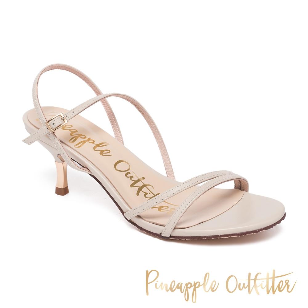 Pineapple Outfitter-LANTHA 真皮一字斜細帶中跟涼鞋-白色