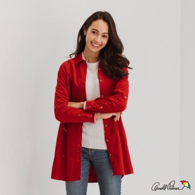 Arnold Palmer -女裝-燈芯絨滿版繡花長版襯衫-紅色