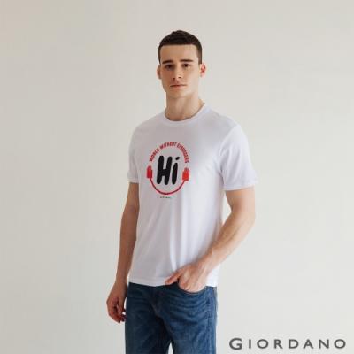 GIORDANO 男裝Greeting印花T恤 - 33 標誌白